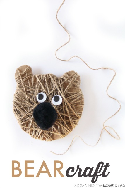 Bear craft Christmas ornament based on the book Bear Stays Up for Christmas.