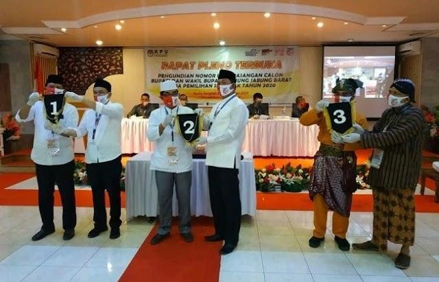 Hasil Pengambilan Nomor Urut Pilbup Tanjab Barat, Mulyani-Amin 1, Anwar Sadat-Hairan 2 dan Muklis-Supardi 3