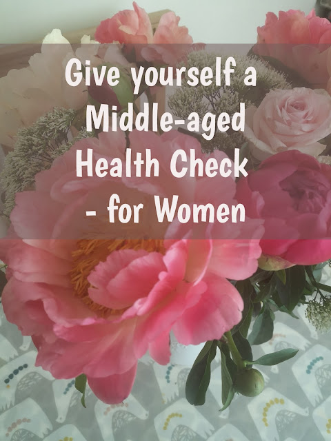 womens middle-aged health check header with flowers