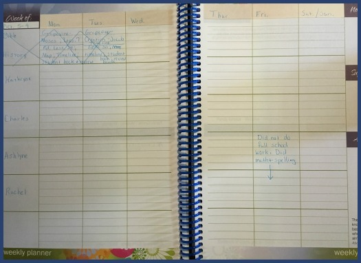 Homeschool planner for the week
