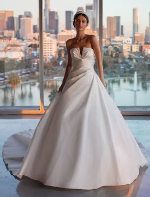 Pronovias A-line Draping and open Back Bridal Dress