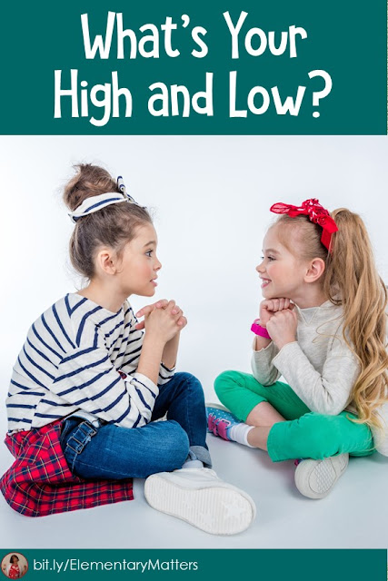 What's Your High and Low? This blog post is about a little tradition I've been doing at the end of the day in my classroom and it's always a big hit. It helps me learn about my students and build relationships with them.