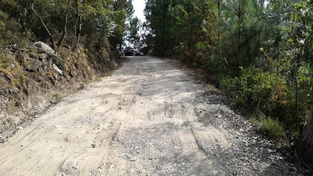 Estrada e terra batida cheia de buracos