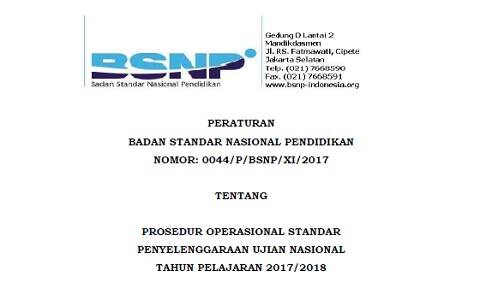 Peraturan BSNP Tentang POS UN Tahun Pelajaran 2017/2018
