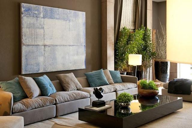 decoração marrom e azul