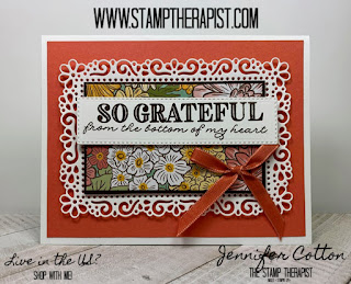 Jennifer shows how to make this Stampin' Up! Ornate Garden Suite So Grateful card.  Click the photo to go to the blog and see the video. #stampinup #StampTherapist