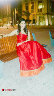 Actress Mannara Chopra Pictures in Red Dress at Dubai 0002