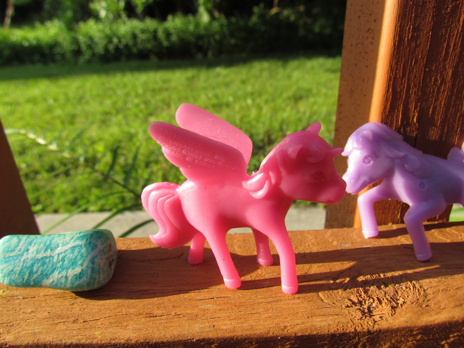 Two Plastic, Colorful Pony Toys for Girls Novelty Gifts and Healing Gemstone