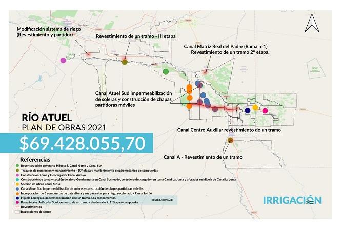 Irrigación invierte casi $70 millones en 16 obras en la Cuenca del río Atuel