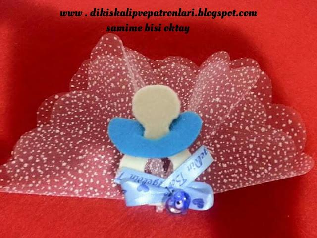 emzik şeklinde keçe magnet, bebek, doğum şekeri kalıbı
