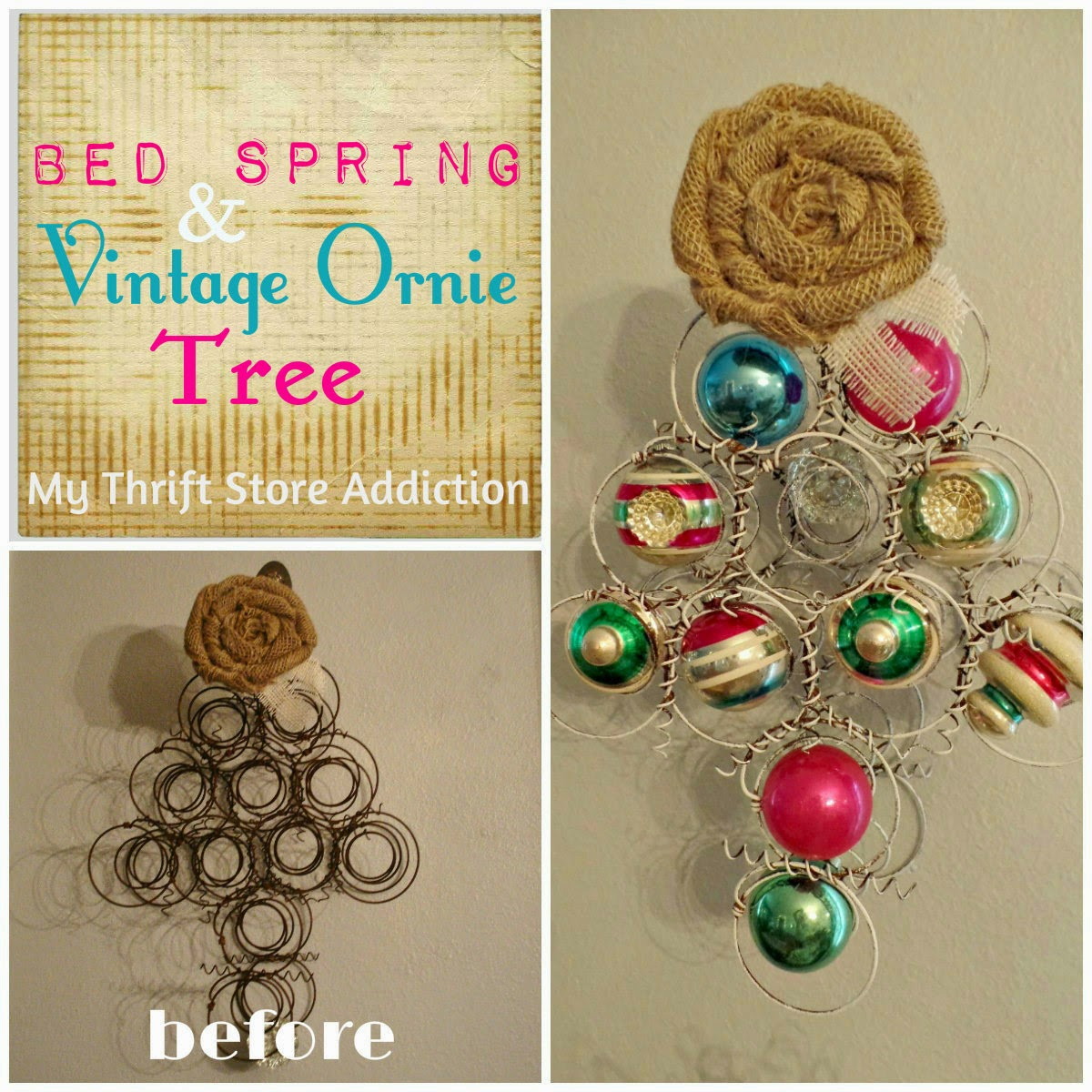 Upcycled bedspring and vintage ornament tree
