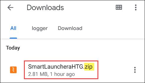 ابحث عن ملف ZIP
