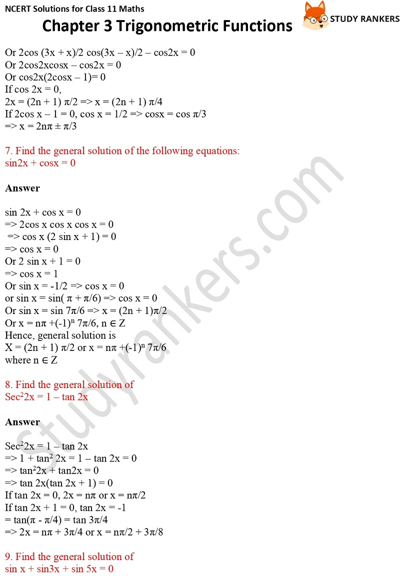 NCERT Solutions for Class 11 Maths Chapter 3 Trigonometric Functions 16