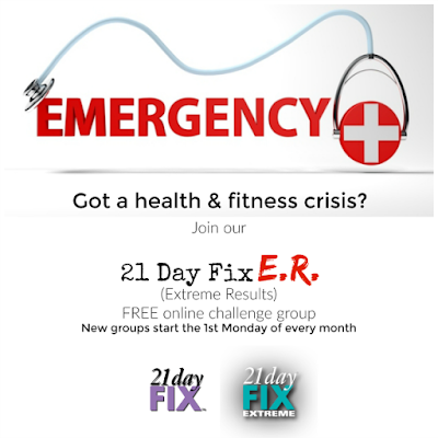 Join our FREE 21 Day Fix ER (Extreme Results) challenge. New groups start the 1st Monday of every month