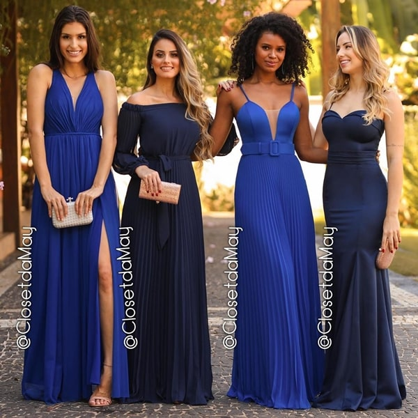 vestido longo azul marinho para madrinha de casamento