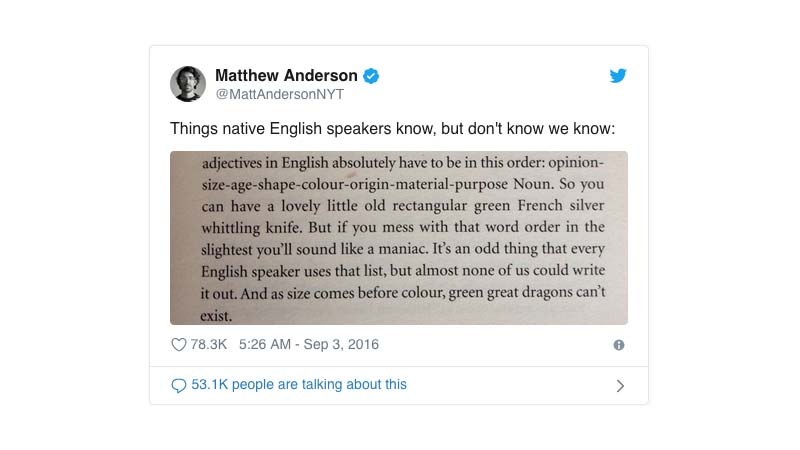 How Non-English Speakers Learn This Crazy Grammar Rule You Never Heard Of