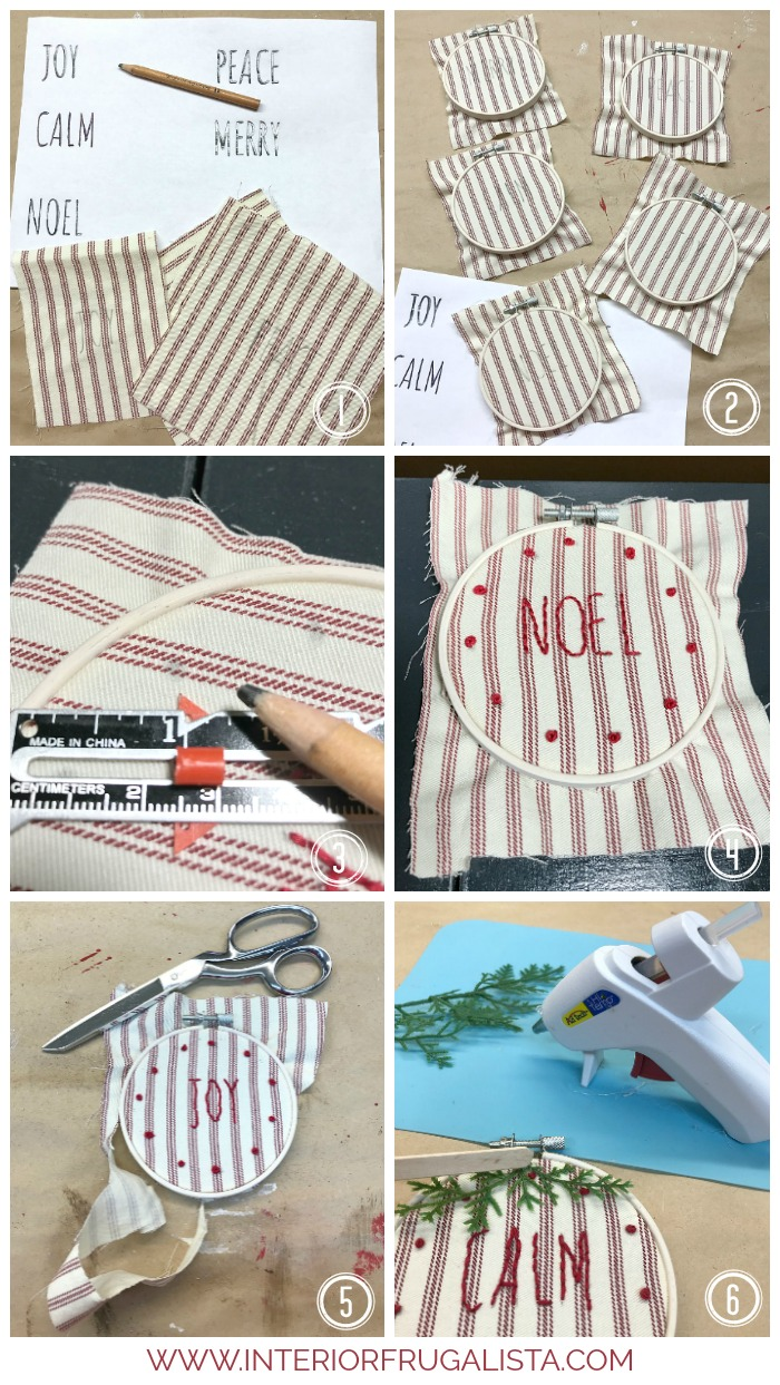Easy DIY Rae Dunn ornaments with modern farmhouse style Christmas decoration idea with recycled ticking stripe slipcover and small embroidery hoops.