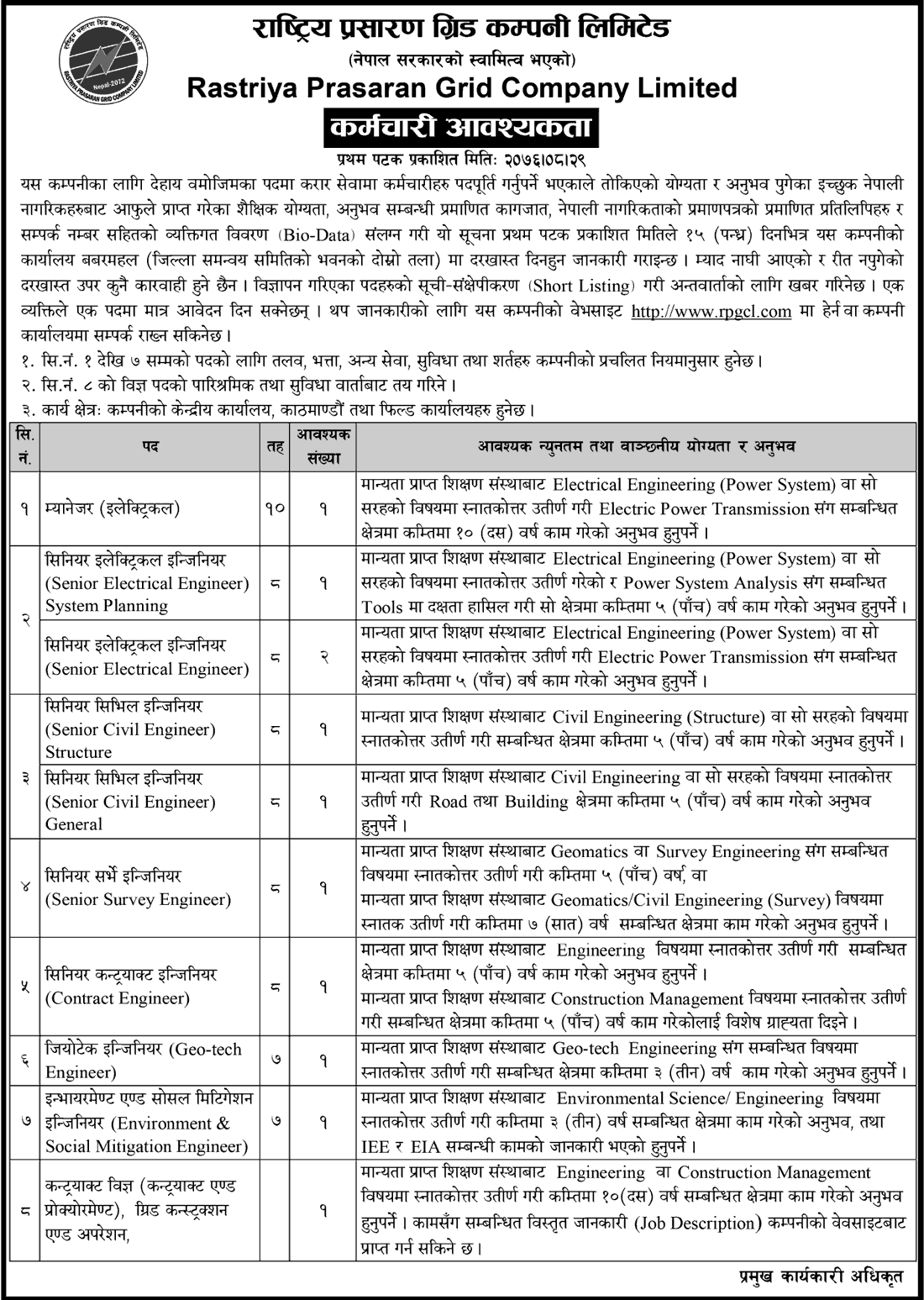 Rastriya Prasharan Grid Company Vacancy Notice