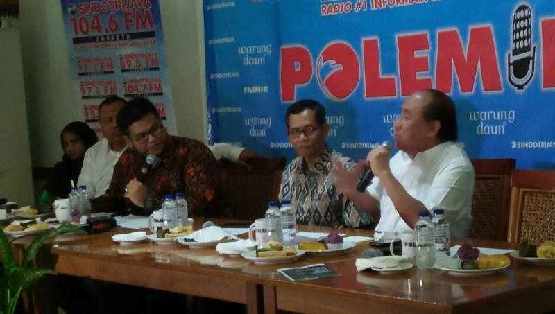 Prijanto (kanan) dalam diskusi Polemik SindoTrijaya
