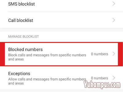 blocked numbers xiaomi