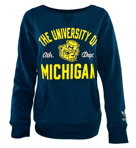 d0345b66 UM Adidas Ladies 'Sealed Up' Navy Crewneck - Females fans of all ages will  love this cute throwover top than would be light enough to wear inside for  ...