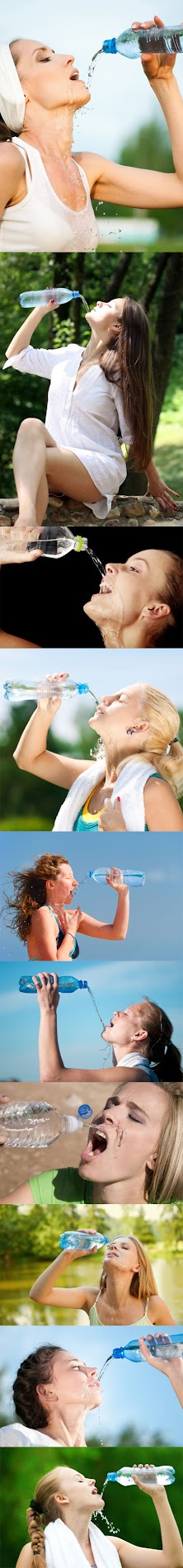 women struggling to drink water