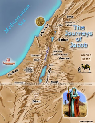 ID: a map with the routes of Jacob's journey's highlighted.