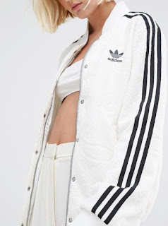 adidas Originals Three Stripe bonded lace white bomber jacket with three black stripes on sleeve