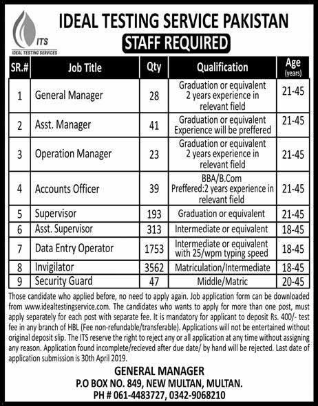 5999 Jobs in ITS Ideal Testing Service Pakistan April 2019