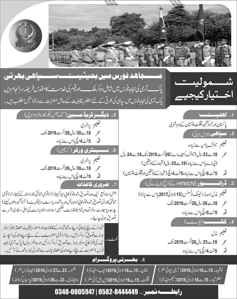 Join Pak Army Mujahid Force as Sipahi Latest Jobs 2019