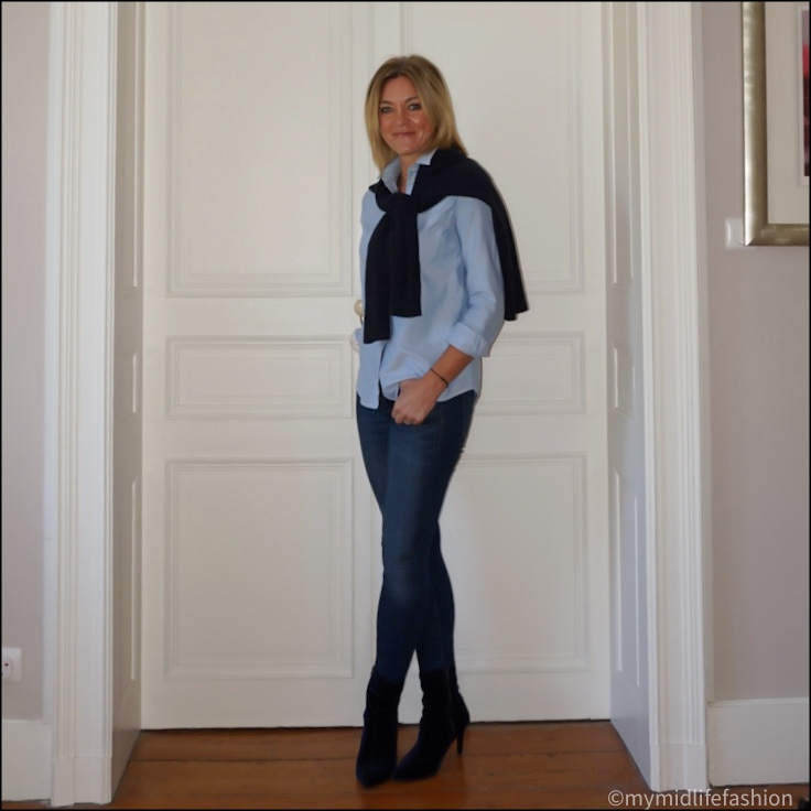 my midlife fashion, h and m oversized cashmere jumper, sesame tomboy shirt, j  crew 8 inch toothpick jeans, marks and Spencer velvet stiletto heel ankle boots