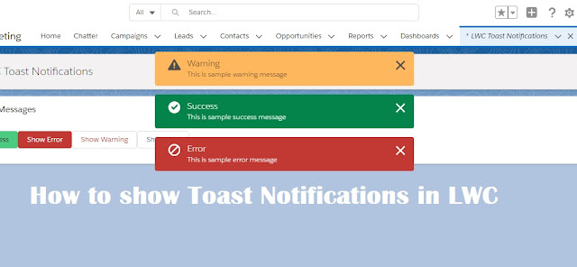 How to display Toast messages in LWC