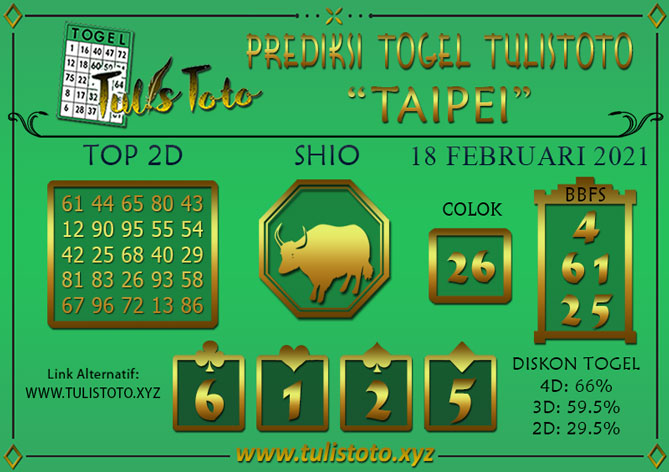 Prediksi Togel TAIPEI TULISTOTO 18 FEBRUARI 2021