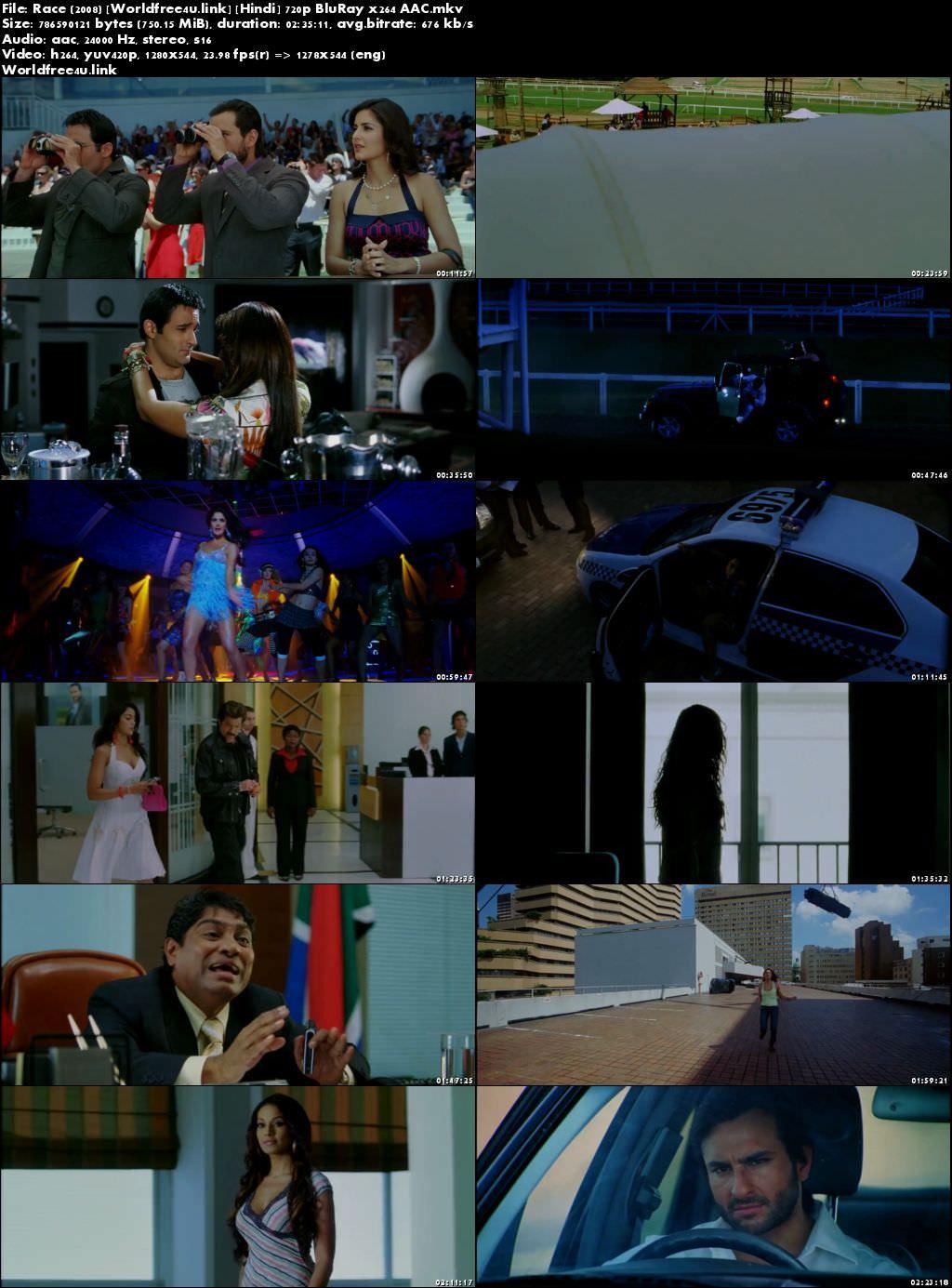 Screen Shoot of Race 2008 Full Hindi Movie Download BRRip 720p Watch Online In Hd