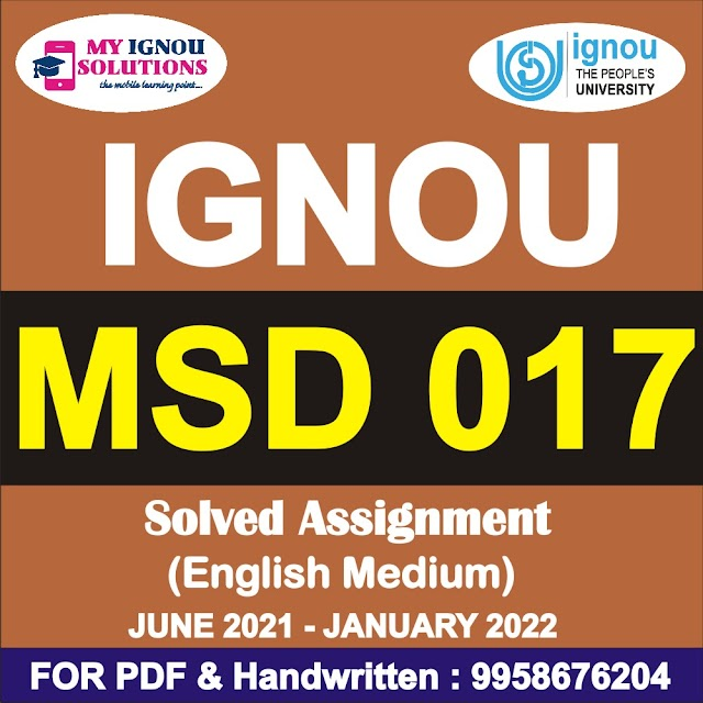 MSD 017 Solved Assignment 2021-22
