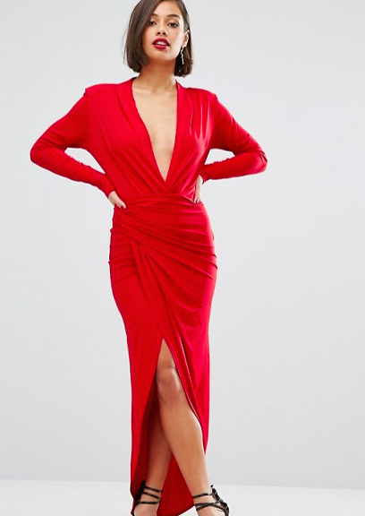 Red plunge dress Asos