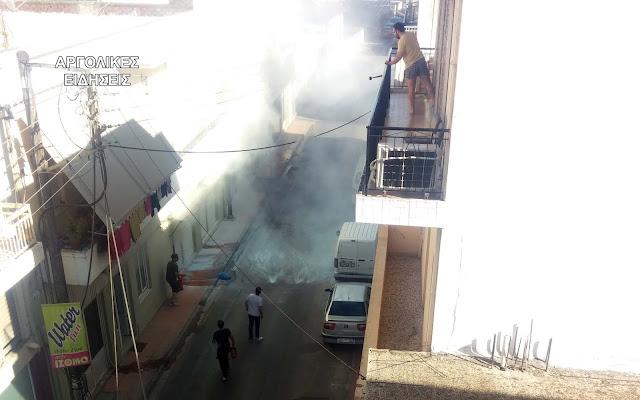 Πυρκαγιά σε επιχείρηση παρασκευής αντισηπτικών στο Άργος - Παραλίγο να τιναχτεί η γειτονιά στον αέρα