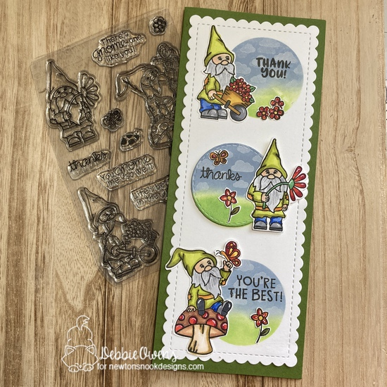 Thank you by Debbie features Gnome Garden, Thankful Thoughts, Slimline Masking Circles & Squares, Petite Clouds, and Slimline Frames &  Portholes by Newton's Nook Designs; #newtonsnook, #inkypaws, #cardmaking, #thankyoucards, #gnomecards