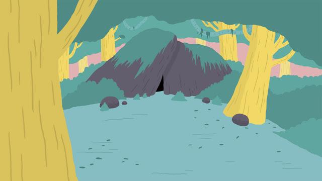 illustration grotte entre les rochers