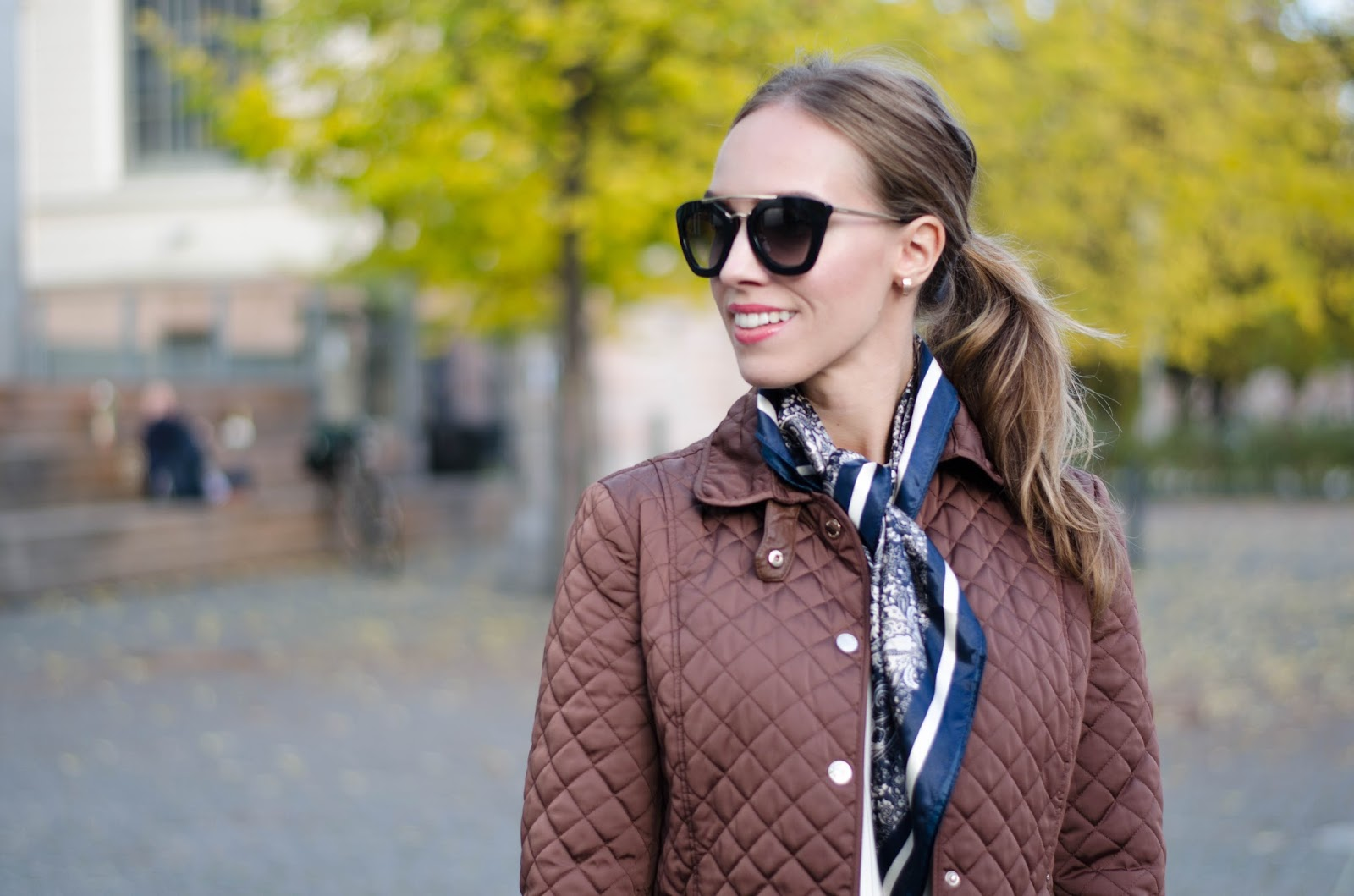 kristjaana mere massimo dutti brown quilted jacket lindex blue silk scarf prada sunglasses