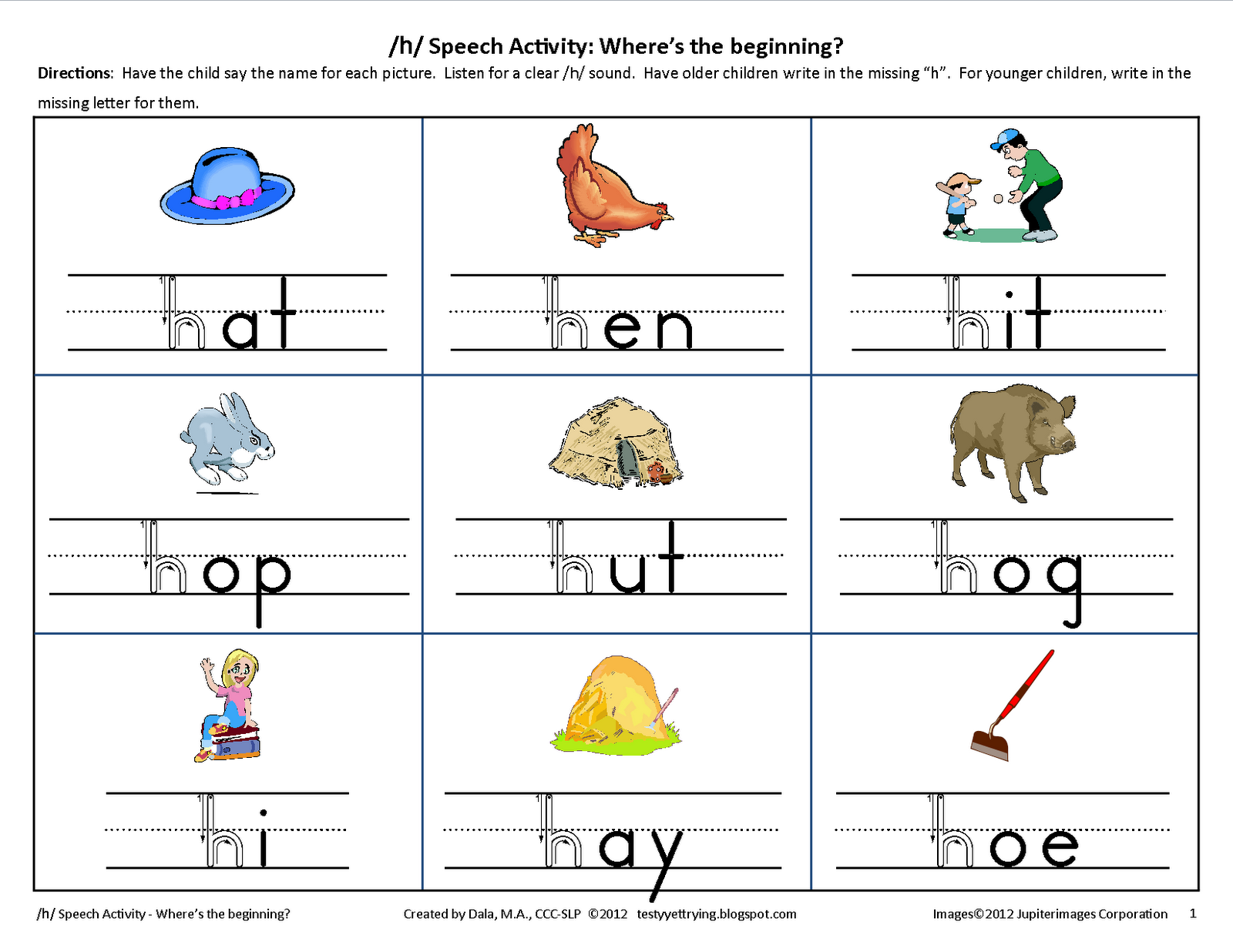 Testy Yet Trying Initial H Speech Worksheet