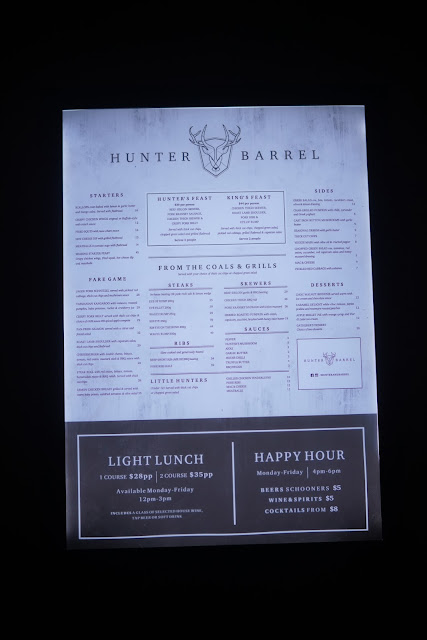 Hunter and Barrel steakhouse restaurant Sydney menu