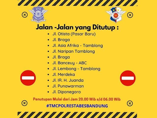Lokasi dan Jadwal Penutupan Sejumlah Ruas Jalan di Pusat Kota Bandung