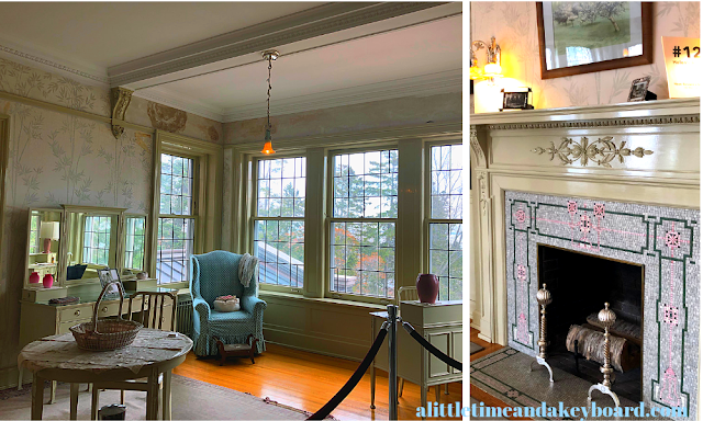 Helen's Room at Glensheen features airy windows and a mosaic fire place.