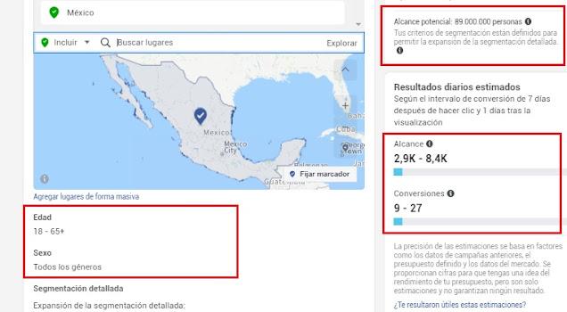 Estimaciones de alcance y conversiones con presupuesto en Facebook  México