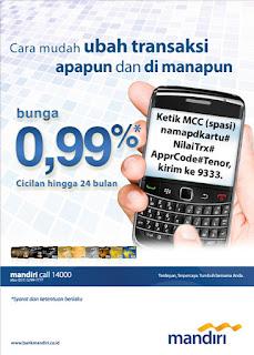 Minta cicilan kartu kredit mandiri via sms