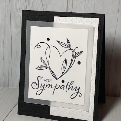 Black and white and vellum Sympathy Card using Stamp Up Touch My Heart Stamp