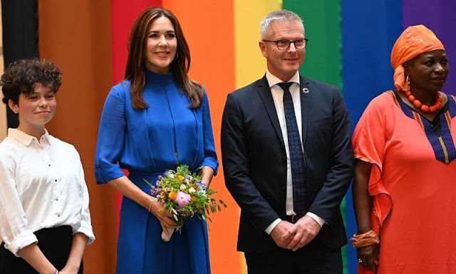 Crown Princess Mary wore a blue jumpsuit by YDE Copenhagen of Spring Summer 2016 collection. Cartier love gold diamond bracelet