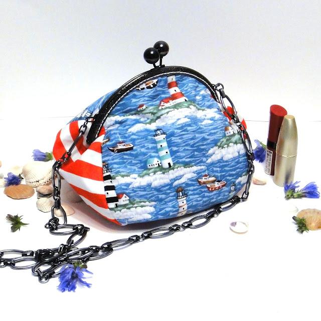 Маленькая сумочка для отдыха на море: натуральный хлопок, цепочка. Ручная работа, доставка почтой или курьером