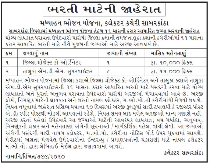 MDM Sabarkantha Recruitment 2020 for District Project Coordinator & MDM Supervisor Posts – 09 Vacancies